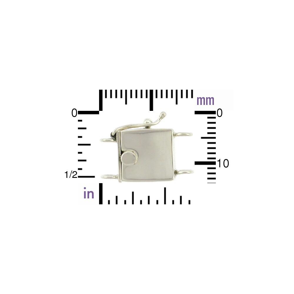 Sterling Silver Box Clasp - Sm Plain Two Strand 18x13mm