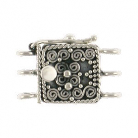 Sterling Silver Box Clasp - Three Stand with Scrollwork