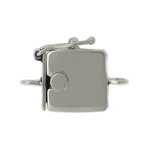 Sterling Silver Box Clasp - Sm Plain One Strand 19x13mm