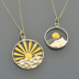 Sunrise Charm Necklaces - Big and Small Mixed Metal Mountain