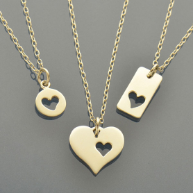 Love Charm Necklaces - 3 Sterling Silver Heart Cutout Charms