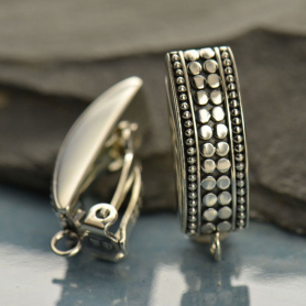 Sterling Silver Clip On Earring with Two Granulated Rows