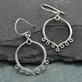 Sterling Silver Earring Finding - Small Arabesque with Loops