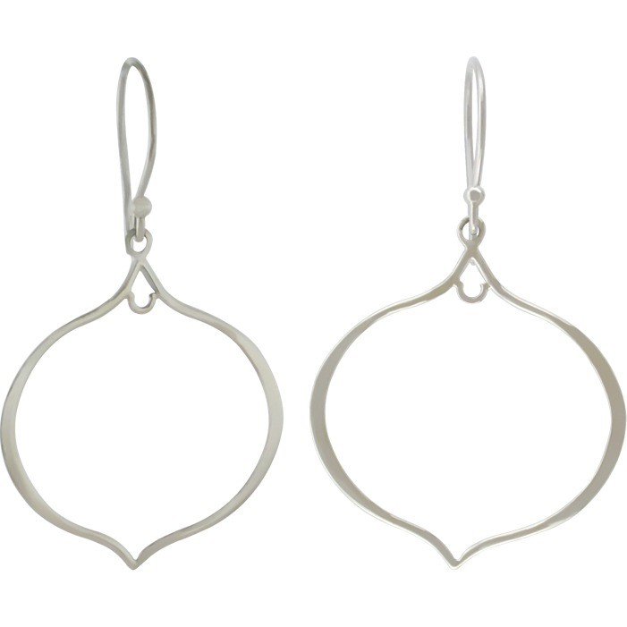 Sterling Silver Arabesque Shape Earring Findings 47x27mm