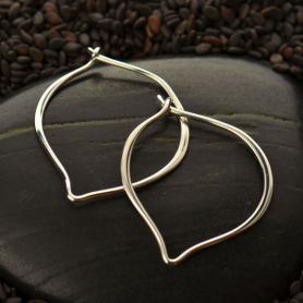 Sterling Silver Hoop Earring - Small Flat Lotus Petal