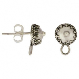 Silver Stud Earring Finding - Granulated Circle with Loop