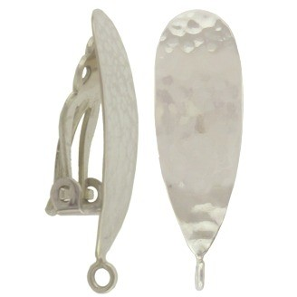 Silver Clip On Earring -Teardrop with Hammer Finish 26x9mm