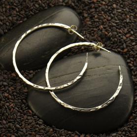 Sterling Silver Hoop Earrings - Hammer Finish on Post -40mm