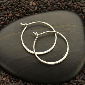 Sterling Silver Half Hammered Circle Hoop Earrings -20mm