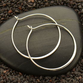 Sterling Silver Half Hammered Circle Hoop Earrings -30mm