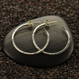 Sterling Silver Hoop Earrings - Hammer Finish on Post -30mm