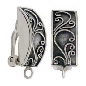 Silver Clip On Earring with Scrollwork and Loop DISCONTINUED