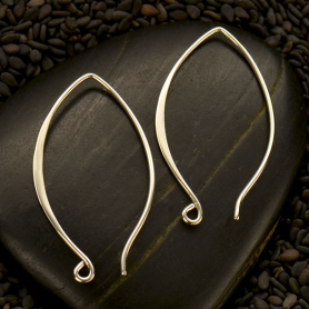 Sterling Silver Ear Wire - Marquis Shaped 34x19mm