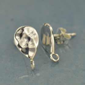 Silver Stud Earrings Part - Hammered Teardrop with Loop
