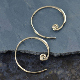 Sterling Silver Hoop Earring - Circle with Curlicue