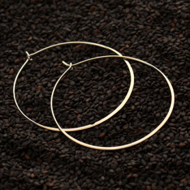 Sterling Silver Half Hammered Circle Earring Hoops -50mm