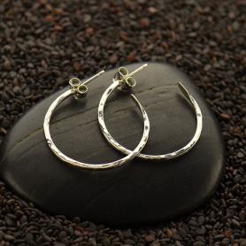 Sterling Silver Hoop Earrings -Hammer Finish on Post -25mm