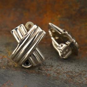 Sterling Silver Clip On Earrings - Cross Hatch with Loop