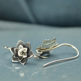 Sterling Silver Ear Hook with Rivited Flower