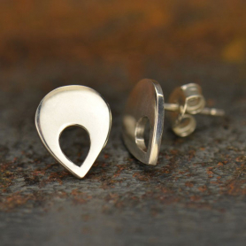 Silver Stud Earrings Parts - Teardrop with Cutout