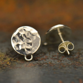 Silver Stud Earrings Parts - Hammered Circl with Loop