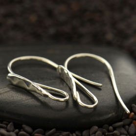 Sterling Silver Earring Top - Hammered Teardrop Front