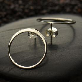 Silver Stud Earrings - Open Circle Post Earring 18x18mm