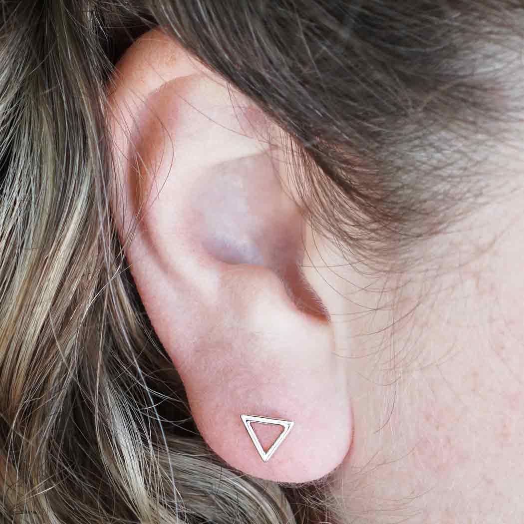 Silver Stud Earrings - Openwork Triangle Post Earring 7x9mm