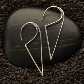 Sterling Silver Ear Wire - Open Wire Triangle Hoop Earrings