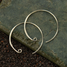 Sterling Silver Ear Wire - Large Circle Hoop
