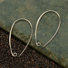 Sterling Silver Ear Wire - Teardrop Hoop
