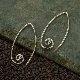 Sterling Silver Ear Wire with Marquis Spiral 28x16mm