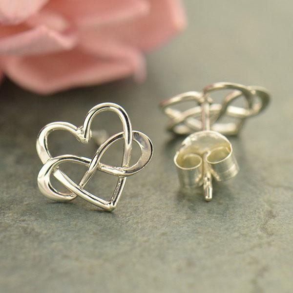 Sterling Silver Infinity Heart Earrings