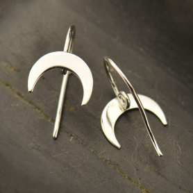 Sterling Silver Earring Top with Crescent and Hidden Loop