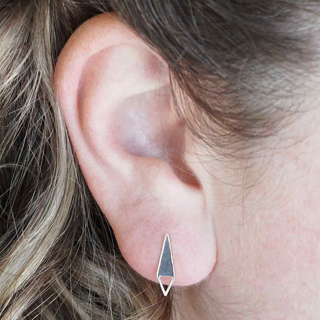 Silver triangle Stud Earrings with Triangle Loop 16x4mm