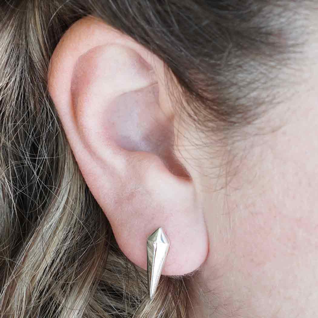 Sterling Silver Spike Stud Earrings 20x6mm