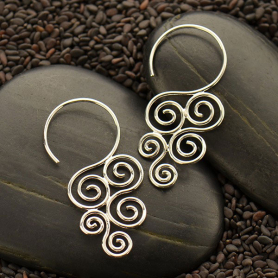 Sterling Silver Ear Hook with Cascading Swirl