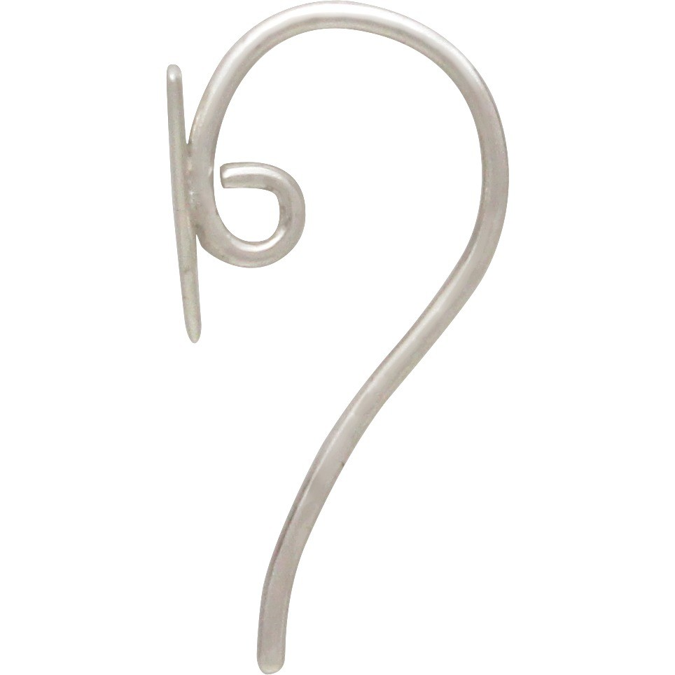 Sterling Silver Ear Hook - Triangle with Hidden Loop 19x8mm
