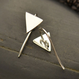 Sterling Silver Earring Top - Triangle with Hidden Loop