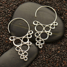 Sterling Silver Ear Hook with Cascading Circles