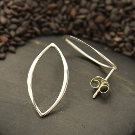 Sterling Silver Marquis Post Earrings 20x10mm