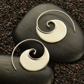 Sterling Silver Wave Hoop Earring