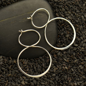 Sterling Silver Hoop Earrings - Infinity Hoops 37x25mm