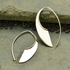 Sterling Silver Machete Earrings - Geometric Jewelry