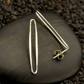 Sterling Silver Long Oval Post Earrings -30mm