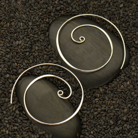 Large Sterling Silver Swirl Hoop Earring with Loop