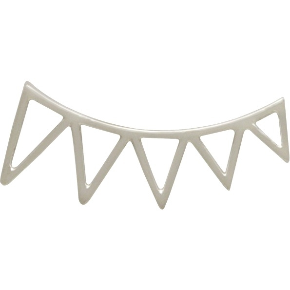 Sterling Silver Triangle Spike Ear Climbers 23x9mm