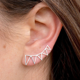Geometric Jewelry - Silver Triangle Spike Ear Climbers