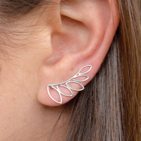 Sterling Silver Leaf Ear Climbers 23x11mm