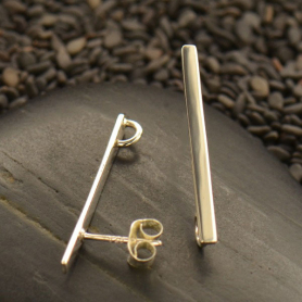 Sterling Silver Flat Bar Post Earring with Hidden Loop